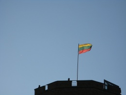 Flag of Lithuania on top of Vilnius Castle Complex
